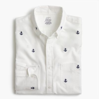 Slim lightweight oxford shirt in embroidered anchors