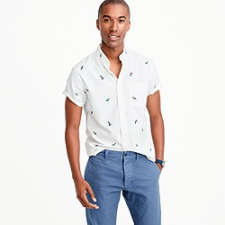 Short-sleeve lightweight oxford shirt with embroidered macaws