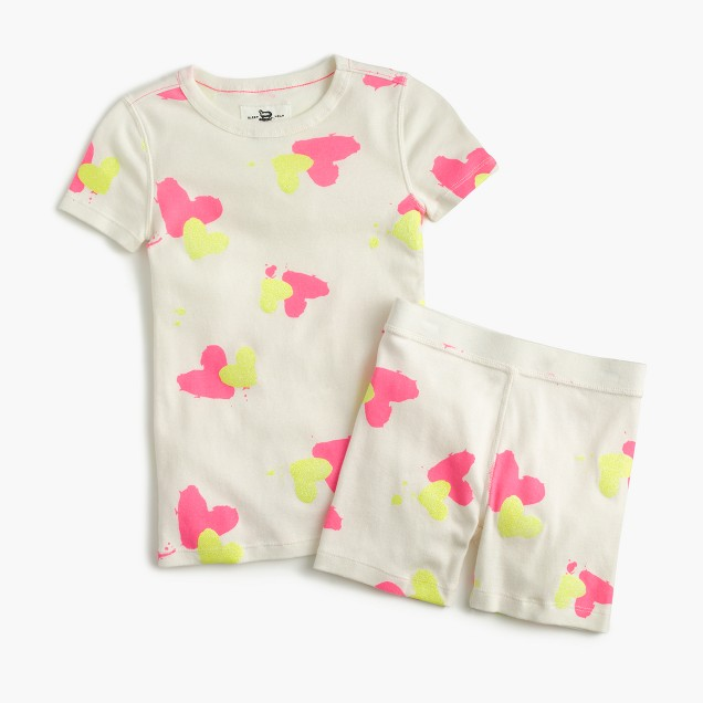 Girls' short-sleeve pajama set in painted hearts