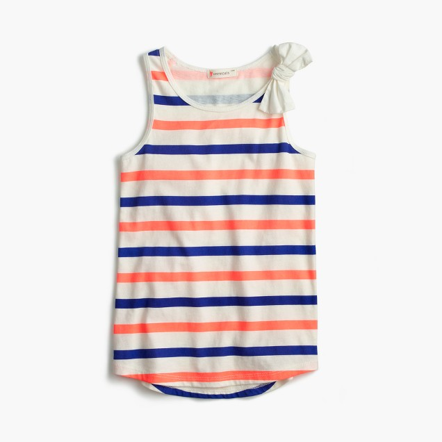 Girls' striped bow tank