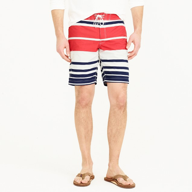 "9"" board short in nautical stripe"