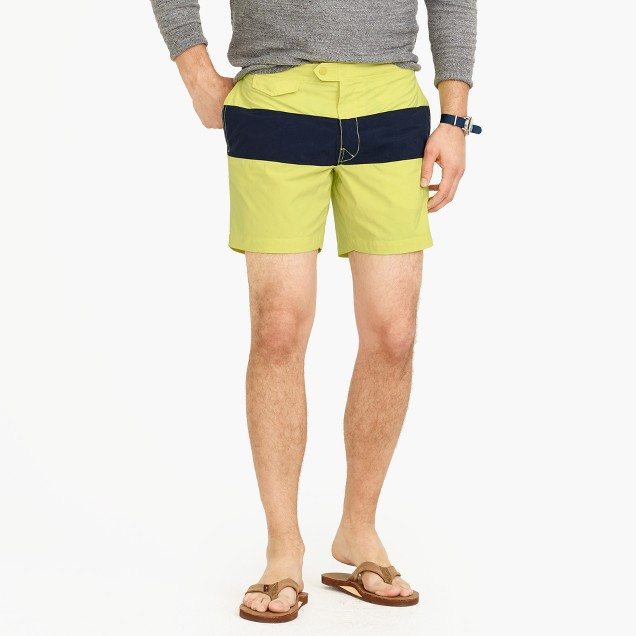 "6.5"" tab swim short in colorblock"