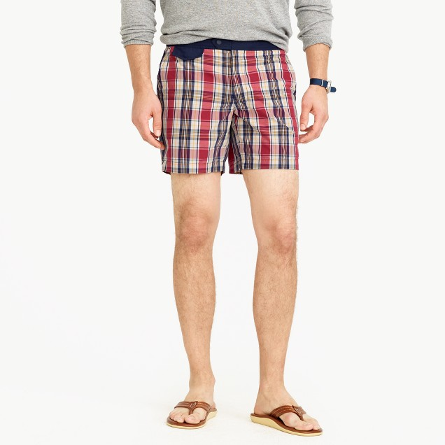 "6.5"" tab swim short in plaid"