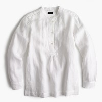 Tall popover shirt in piece-dyed Irish linen
