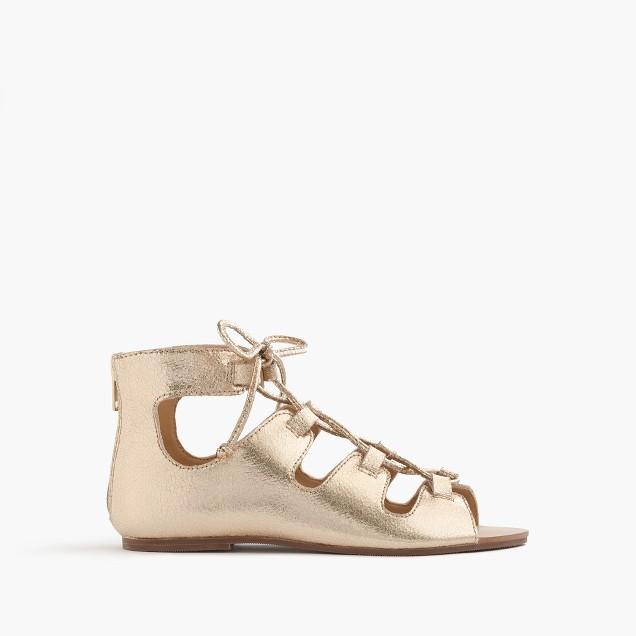 Girls' metallic leather gladiator sandals
