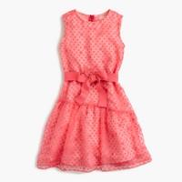 Girls' sheer polka-dot ruffle dress
