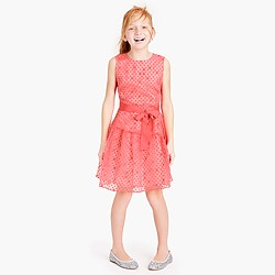 Girls' sheer polka-dot ruffle dress