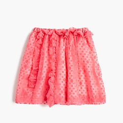 Girls' sheer polka-dot ruffle pull-on skirt