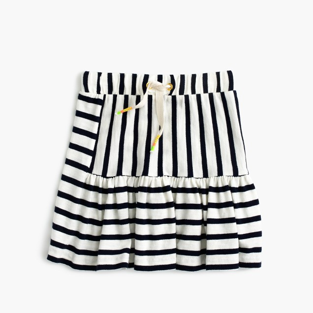 Girls' pull-on stripe-panel skirt