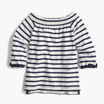 Girls' off-the-shoulder striped top