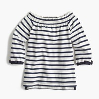 Girls' off-the-shoulder striped top