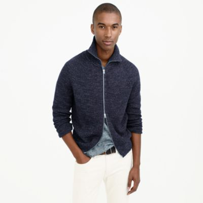 Full-zip funnelneck sweater