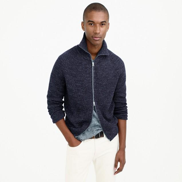 Full-zip funnelneck sweater