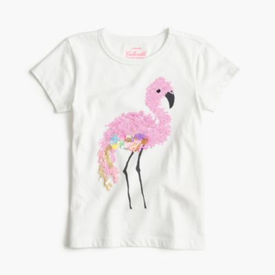 Girls' sequin flamingo T-shirt
