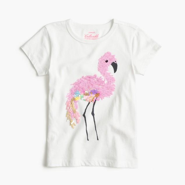 Girls' sequin flamingo T-shirt