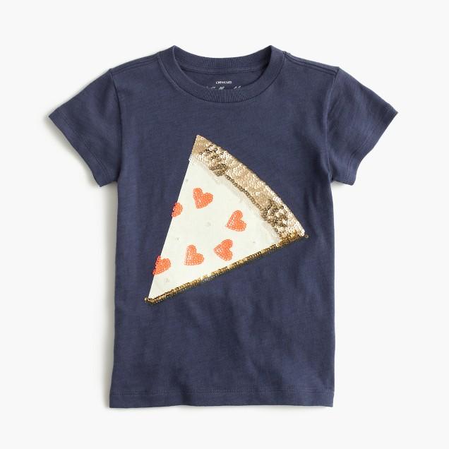 Girls' sequin pizza T-shirt