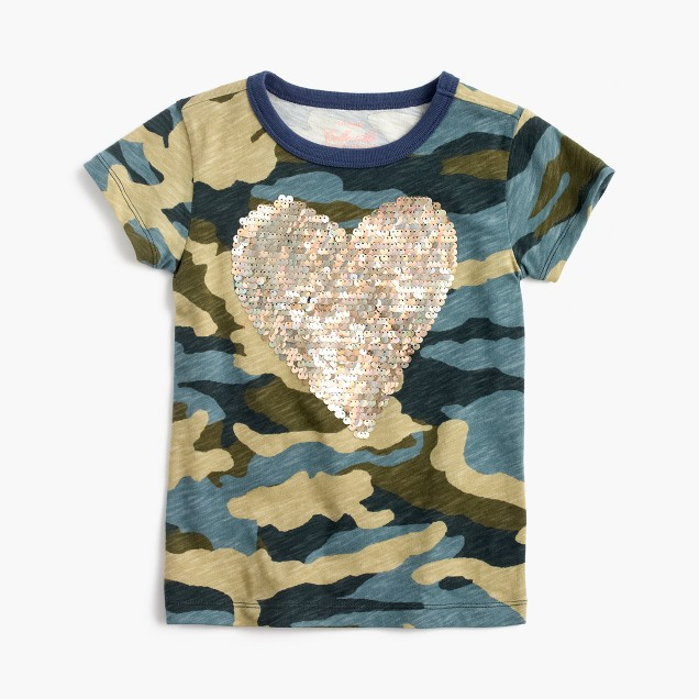 Girls' sequin heart camo T-shirt