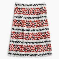 Pleated skirt in berry print