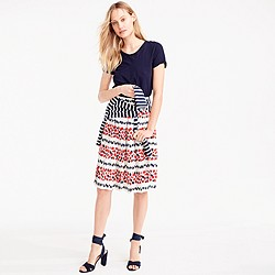 Petite pleated skirt in berry print