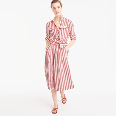 Midi skirt in striped linen