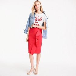 Petite ruffle skirt in cotton poplin
