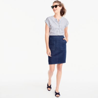 Tie-back denim skirt