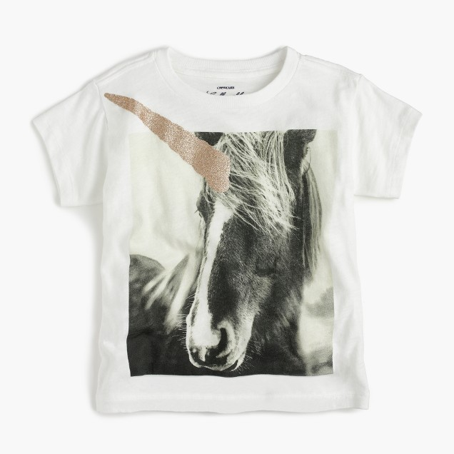 Girls' glitter unicorn T-shirt