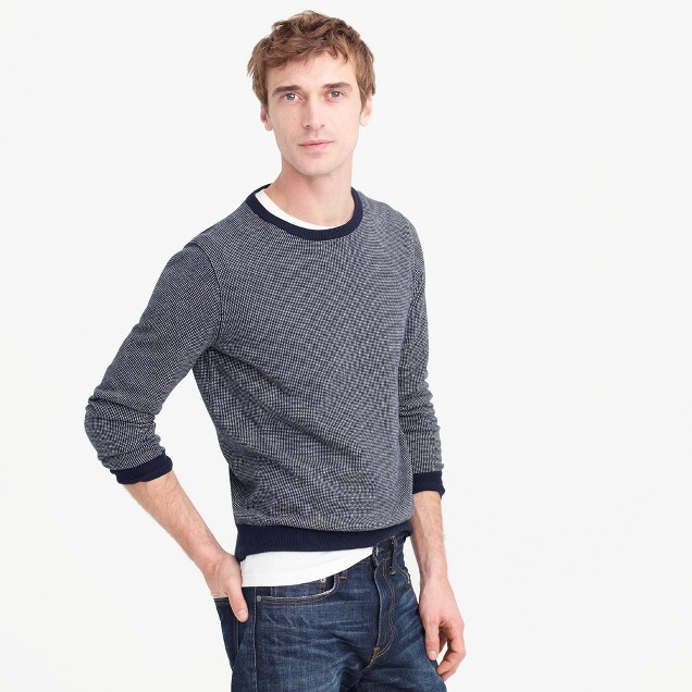 Cotton-cashmere crewneck sweater in jacquard