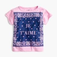 "Girls' ""je t'aime"" bandana T-shirt"
