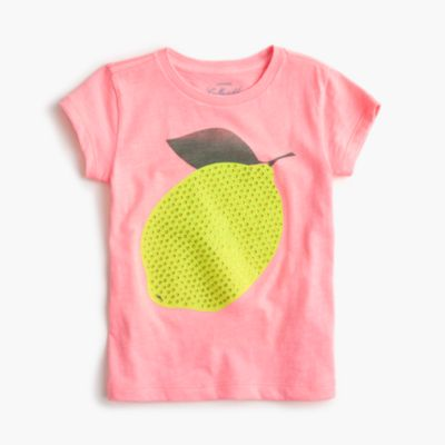 Girls' sequin lemon T-shirt