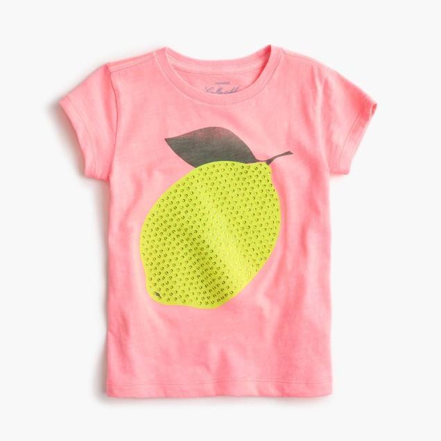 Girls' sequin lemon T-shirt