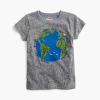 Girls' sequin earth T-shirt