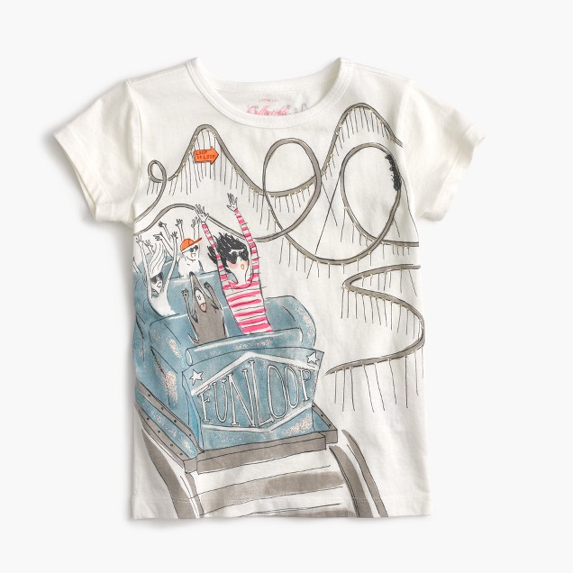 Girls' Olive on roller coaster T-shirt