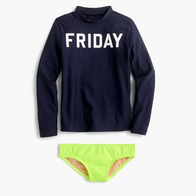 "Girls' ""Friday"" rash guard set"