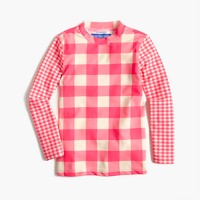Girls' rash guard in mixed neon gingham