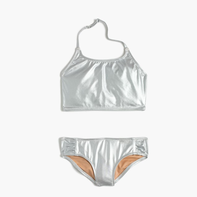 Girls' metallic cropped bikini set