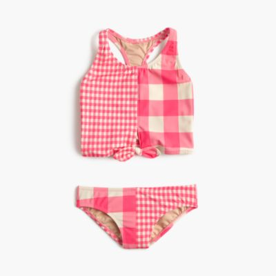Girls' cropped tankini set in mixed neon gingham