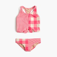 Girls' tankini set in mixed neon gingham