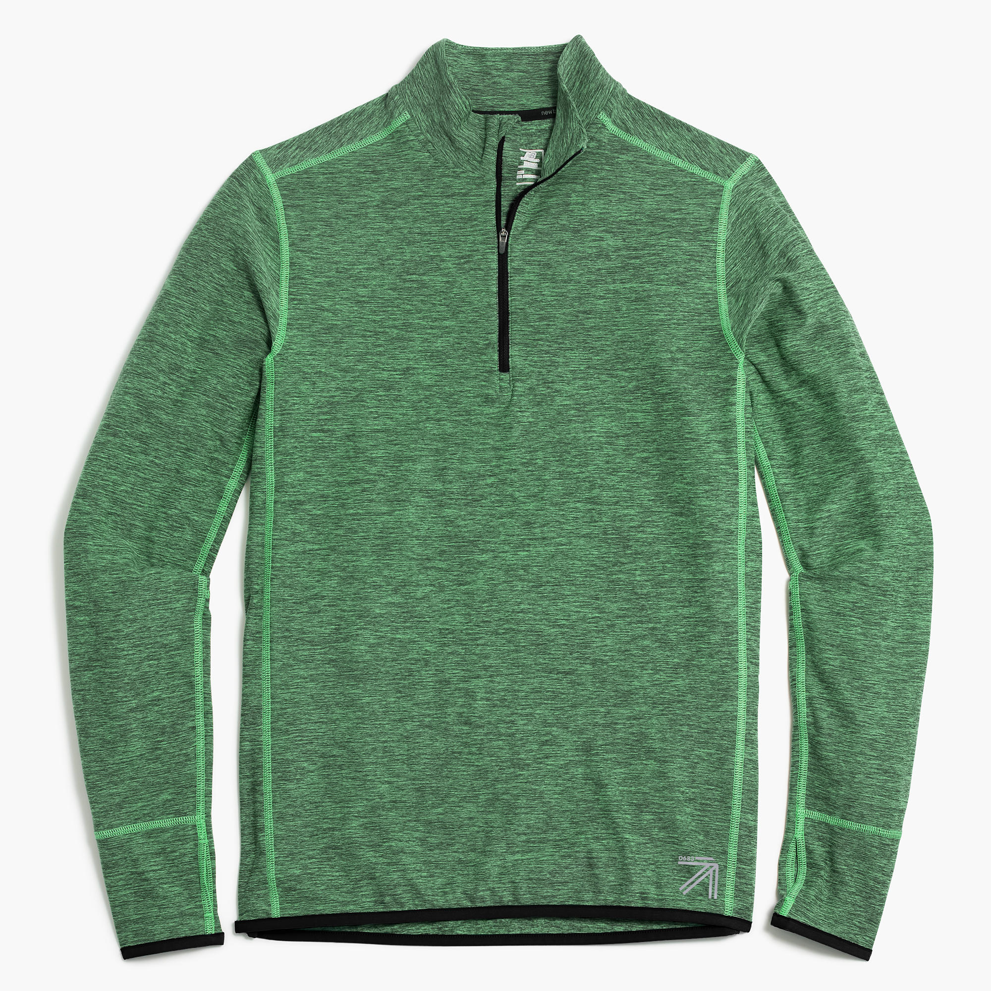 New Balance for J.Crew Mens Half-Zip Pullover (Green Marl)