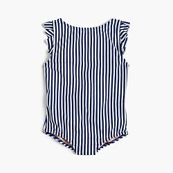 Girls' ruffle cap-sleeve one-piece swimsuit in stripe