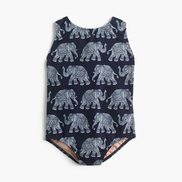 Girls' one-piece swimsuit in elephant print
