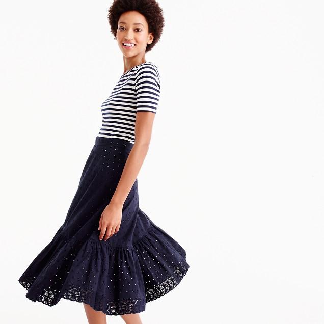 Petite tiered midi skirt in eyelet poplin