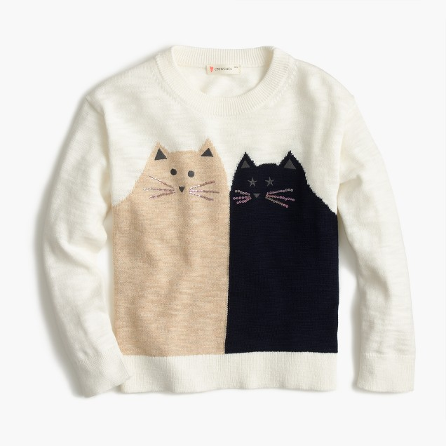 Girls' kitty friends popover sweater