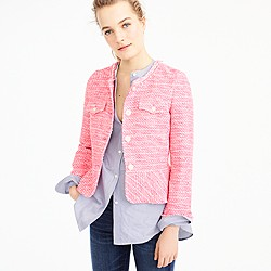 Petite peplum lady jacket in neon fuchsia tweed