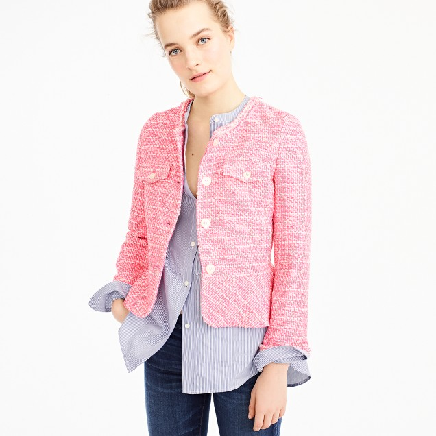 Peplum lady jacket in neon fuchsia tweed