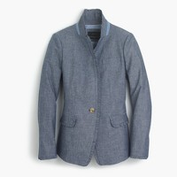 Tall chambray Regent blazer with ruffle trim