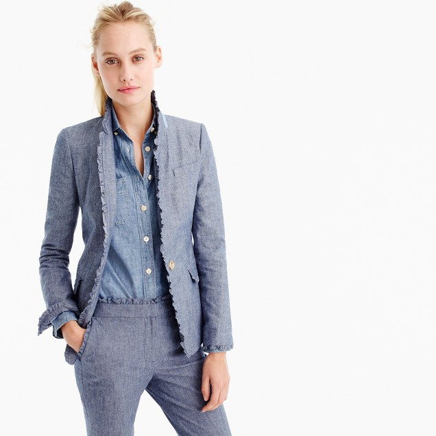 Chambray Regent blazer with ruffle trim
