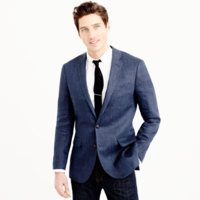Ludlow linen blazer in atlantic blue