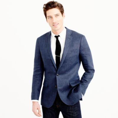 Ludlow linen blazer in atlantic blue