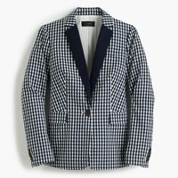 Puckered gingham blazer with navy lapel